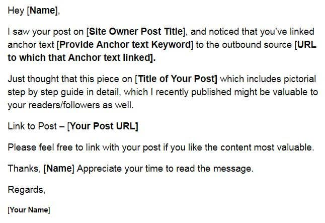 Backlink Opportunity Email Templete