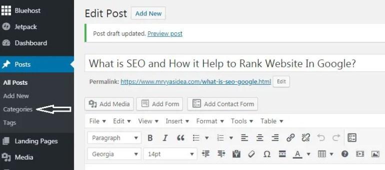 Categories in wordpress site