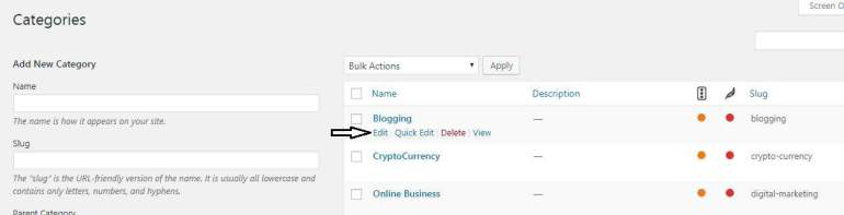 Change Slug in Category of wordpress site