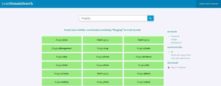 Blog name generator - Lean Domain Search