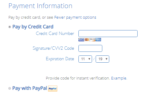 payment option inbluehost