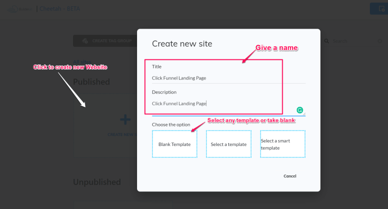 How to use cheeta builder to design pages