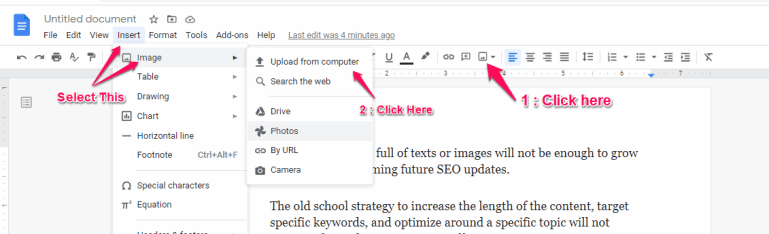 How to insert an image in Google Doc