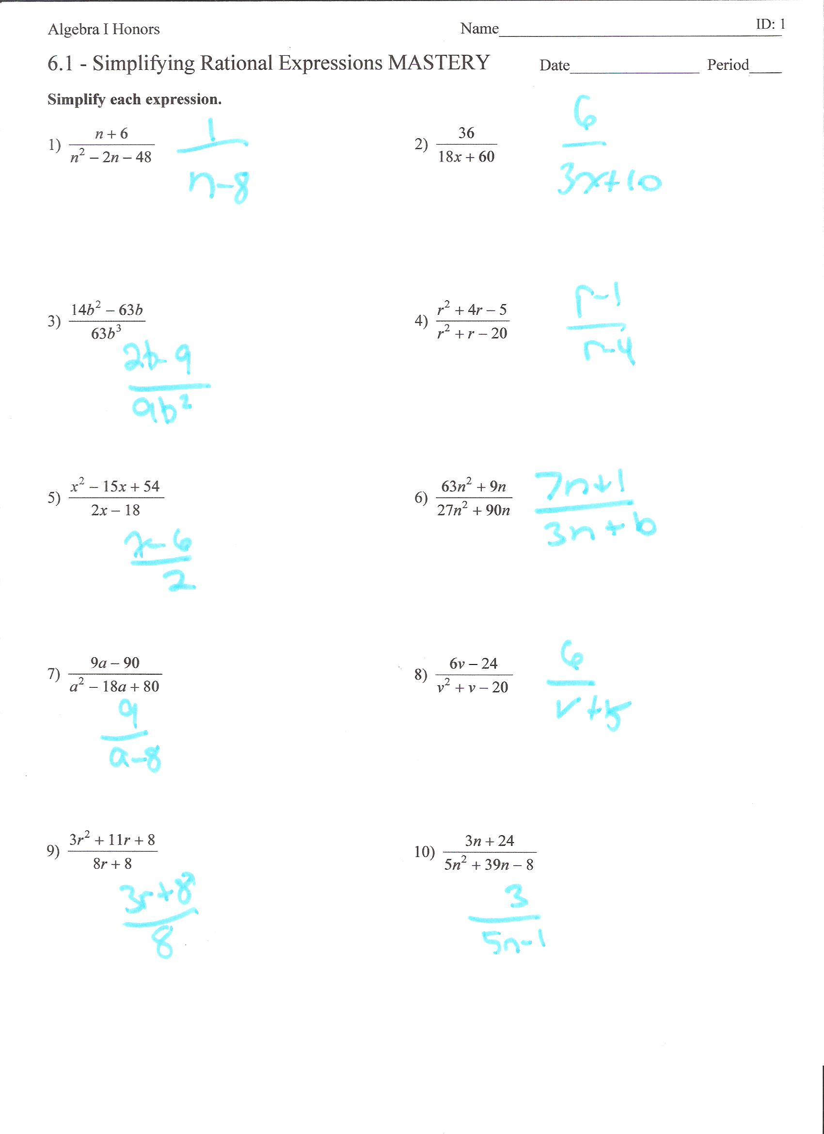 Simplifying Radical Expressions Worksheet Algebra 1
