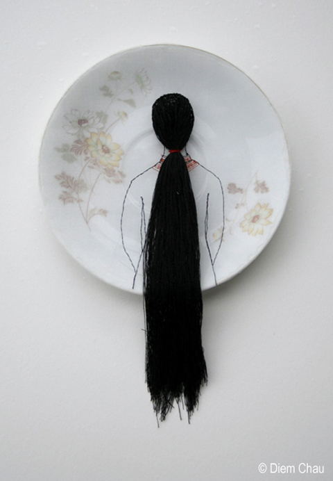 Diem Chau's Embroidered Porcelain