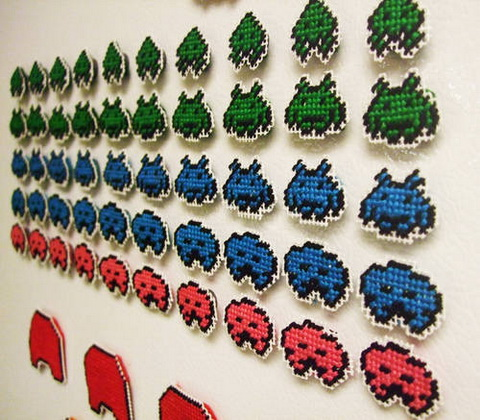 Space Invaders Needlepoint Magnets by Sarasvati