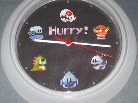 Bubble Bobble Cross Stitch Clock