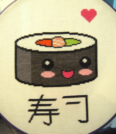 kawaii sushi cross stitch by plushoff
