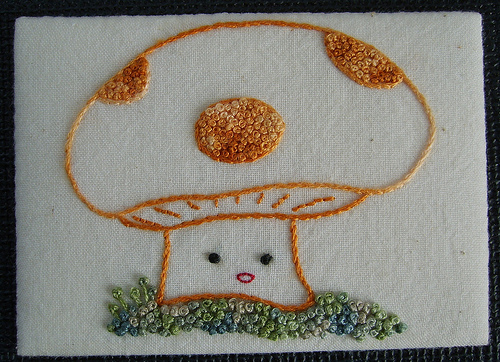 Fat Quarter's Hand Embroidered Mushroom