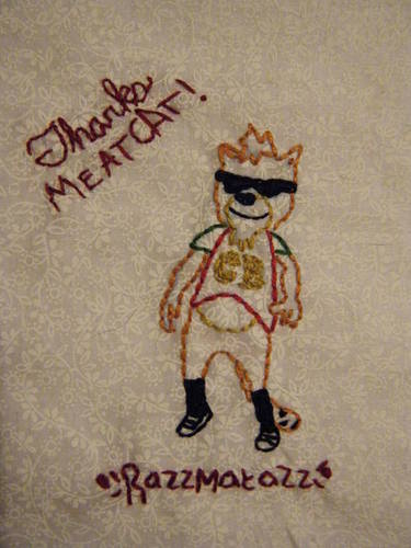 cigarettesandvalentines' 30 Rock Cheesy Blasters Meat Cat hand embroidery