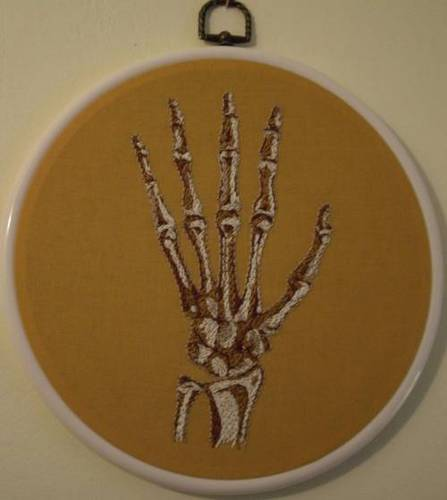 Mezcrafts's Hand Embroidered Hand Bones