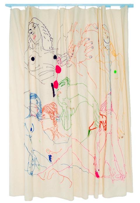 Pita Garcia - Cortina hand embroidered shower curtain