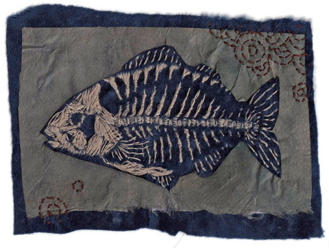 Miki Sato - Fishbones embroidered textile collage