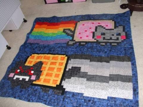 PrincessPimp81's Nyan Cat vs Waffle Cat Quilt