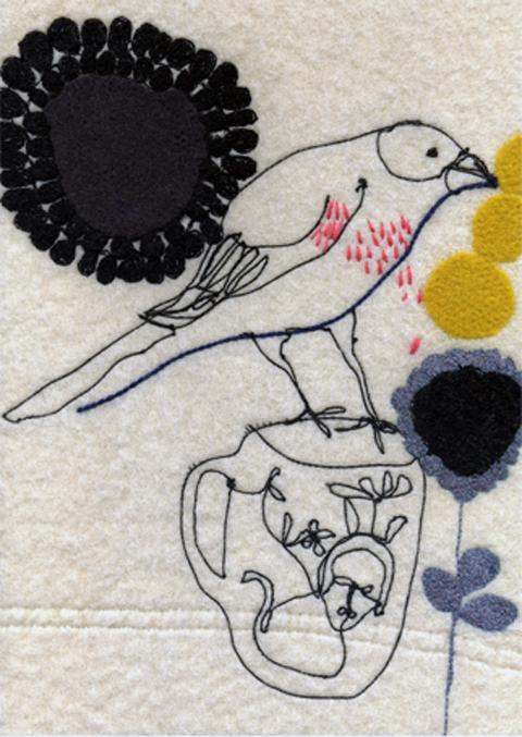 Maxine Sutton - Sad Bird - embroidered textile artwork