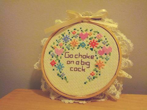 Mokro's Choke cross stitch Sampler