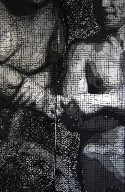 Pierre Fouche - Fred & Denis (2011). Domestic sewing machine embroidered lace in six panels. 1660 x 1380mm. Detail