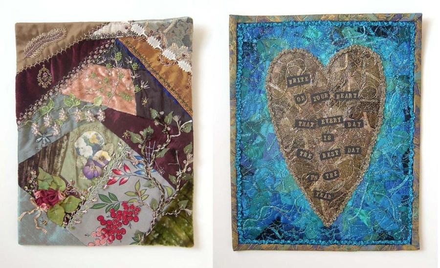 On left: crazy quilt using metallic and silk threads. On right: machine embroidered art quilt using Kreinik Bag O'Bits.