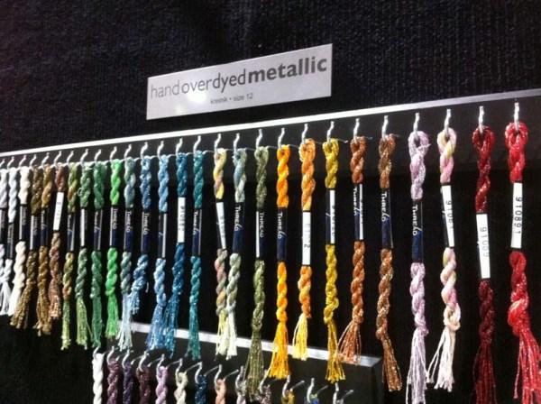 Kreinik metallic threads overdyed by the company Threadworx.