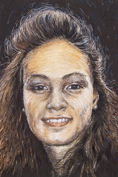 Birgitte Busk - Karoline - Machine Embroidered Portrait