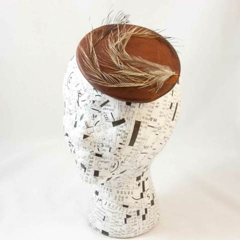 Emily Moe - Deerhide Button Fascinator With Emu Feathers