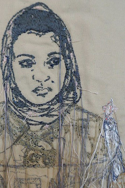 Sophie Strong - Candlelight Protest - Machine Embroidery (detail)