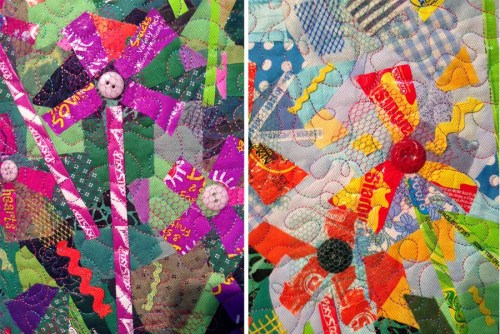 Sweet Blooms by Pat Kroth. So many fun details in this wall quilt.