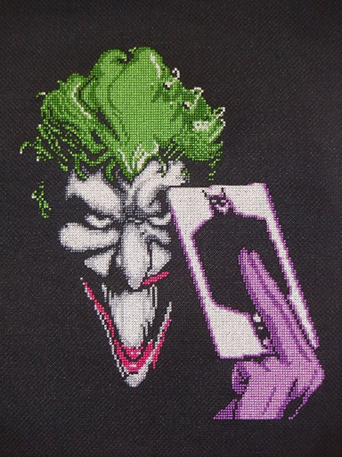 Miss Clawful's Joker Cross Stitch via Sprite Stitch