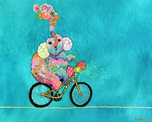Kimika Hara - An Acrobatic Elephant - Hand Embroidery