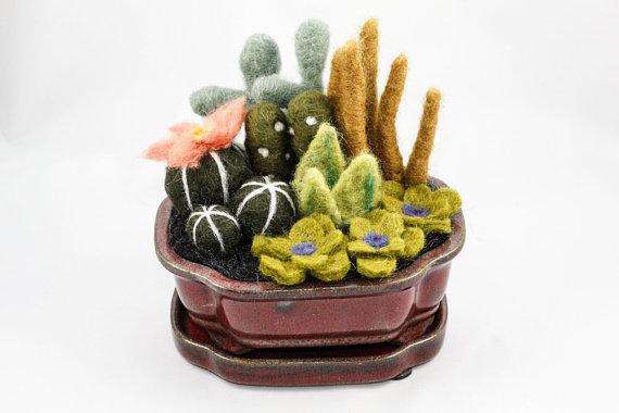 Sarah Mandell needle felted Cacti