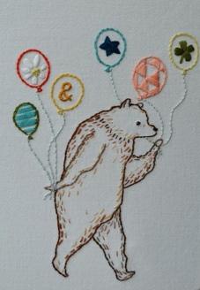 Baloon Bear, hand embroidery.