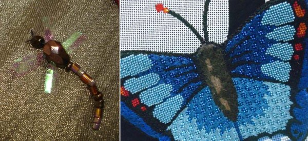 Look for non-traditional fibers to add special effects in your stitched bugs.