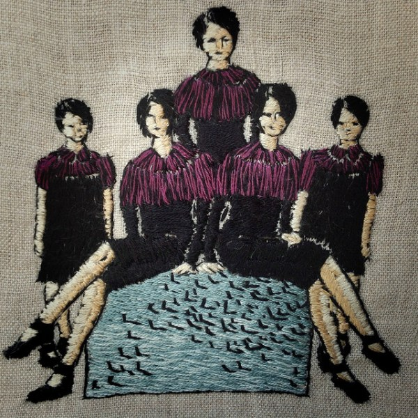 """""""A flock of starlings,"""" 4 x 4 inch hand embroidery on linen."""
