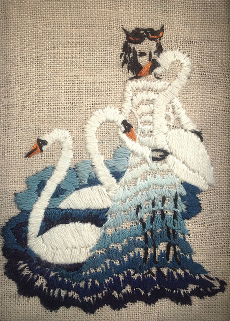 """the mute swans,"" 3 x 4 inch hand embroidery on linen."
