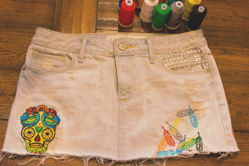 Abercrombie skirt with Urban Threads machine embroidery.