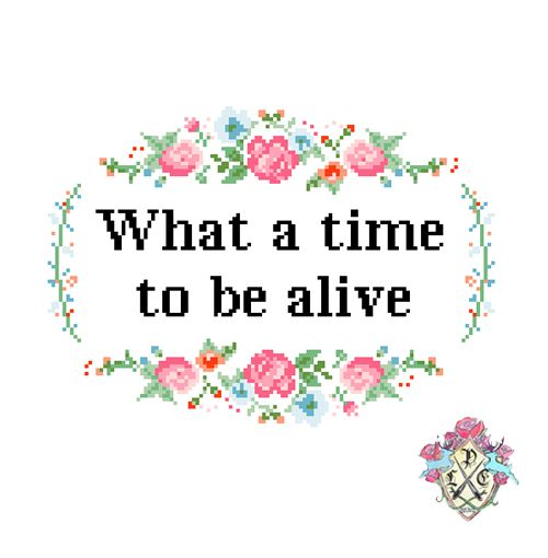 What a Time to be Alive by Lauren Moreno (Cross stitch design)