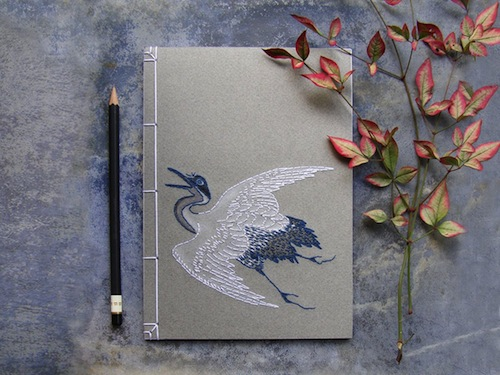 Japanese Crane Notebook by Fabulous Cat Papers (Hand embroidery)