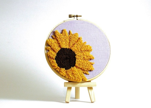 Sunflower by Harp and Thistle (Punchneedle embroidery)