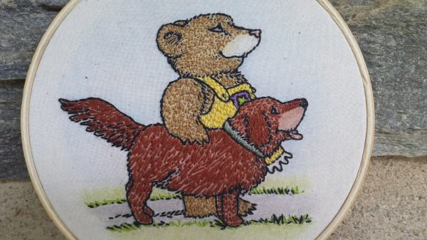 Emma's Pet. Hand embroidery on cotton muslin, with watercolor.
