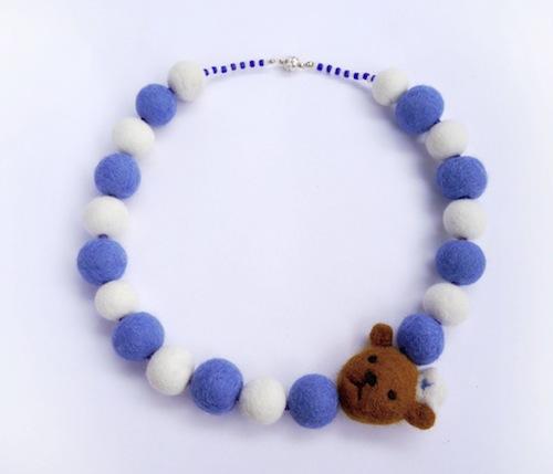 Sailor Bear Necklace by Buzzy Feltz (Needle Felt)