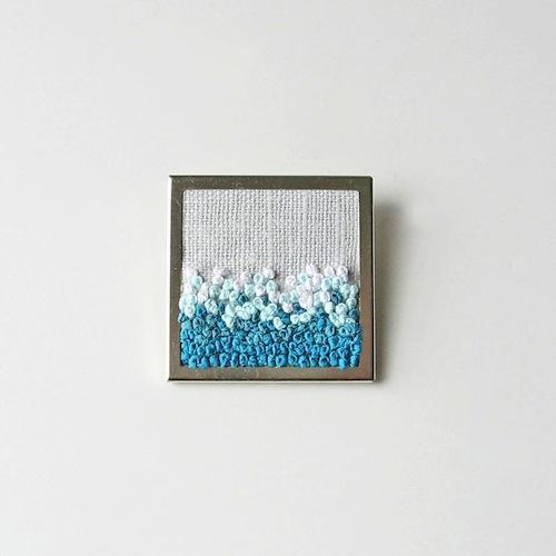 Aqua Ombre Brooch by bstudio (Silk Ribbon Embroidery)