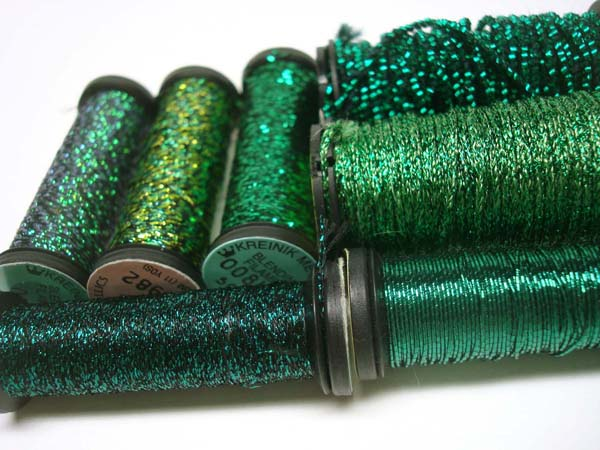 You can do shading with Kreinik's many shades of green.