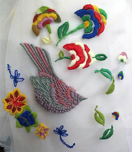 First embroidery by Myra Chung: Bird