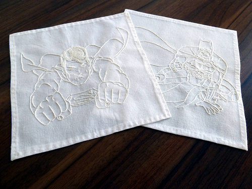 Hand embroidery on a handkerchief by Benhy Bradshaw Costello.