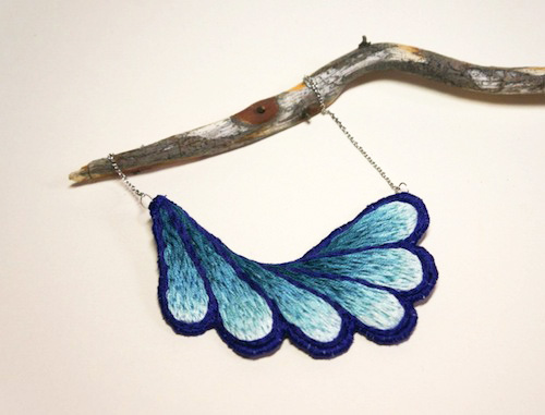 Blue Gradient Necklace by The Neon Forest (Hand Embroidery)