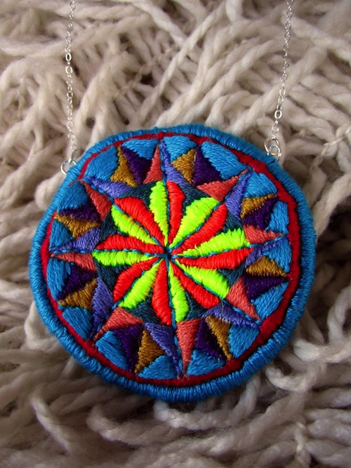 Neon Compass Necklace by The Neon Forest (Hand Embroidery)