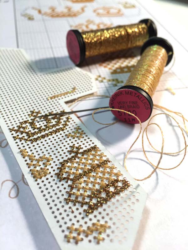 Metallic Braids add light and color to designs, and are meant to be used next to, or in place of, embroidery floss.