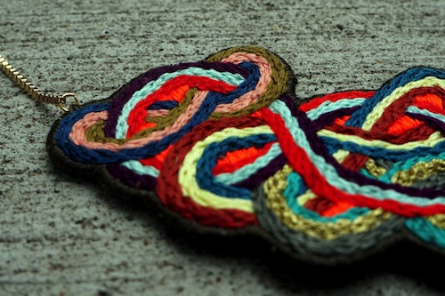 Tangled Up Necklace by The Neon Forest (Hand Embroidery)