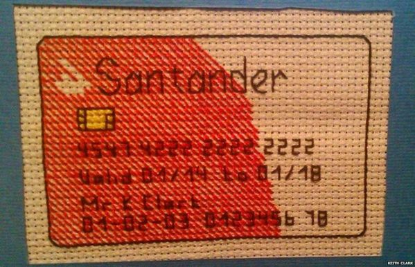 Keith Clark's Cross Stitched Credit Card