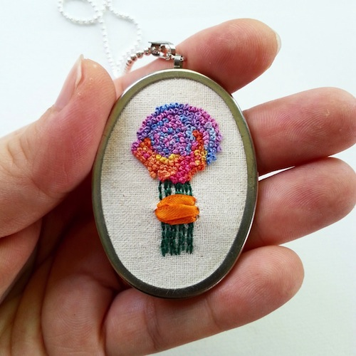 French Knot Bouquet Pendant by Heartful Stitches (Hand Embroidery)